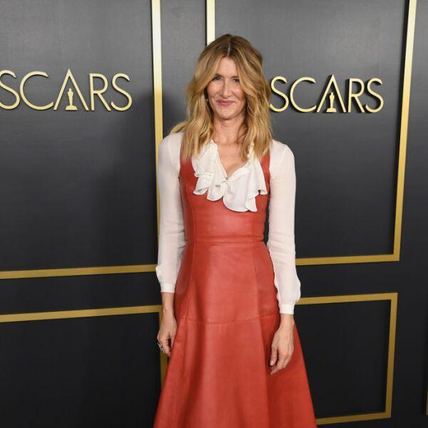 Laura Dern en un leather dress color terracota de Oscar de la Renta, el cual combinó con unas botas de terciopelo vino