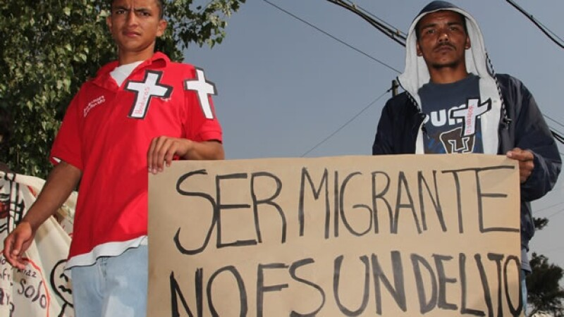 Migrantes centroamericanos protestan en México