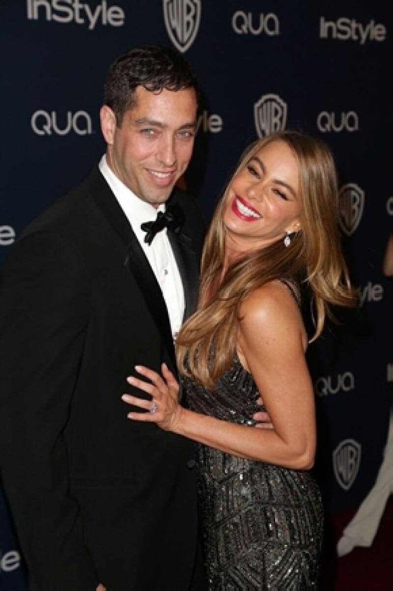 Nick Loeb y Sofia Vergara en el after party de Warner Bros e InStyle durante los Golden Globe Awards 2014 en Los Ángeles.