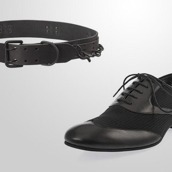 Una combinación de materiales aparece en este calzado, con una parte opaca y otra brillante, de punta redondeada. El cinturón deportivo marca tendencia, dirigido hacia los pantalones tipo cargo.