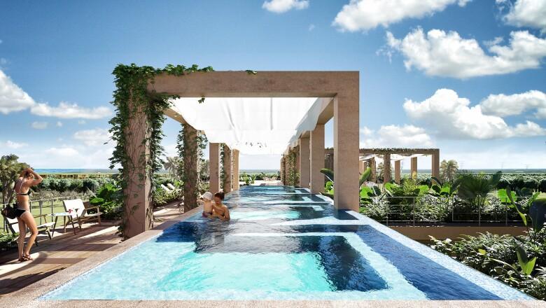 Una de las piscinas en The Village.