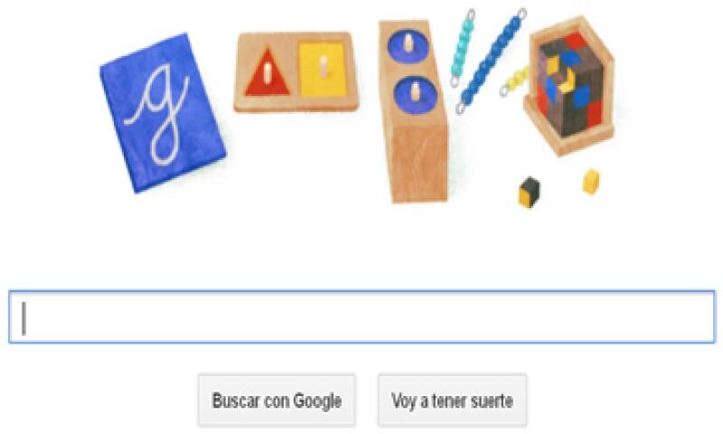 El doodle reemplazó sus letras tradicionales por varios juguetes educativos. (Foto tomada de Google.com)