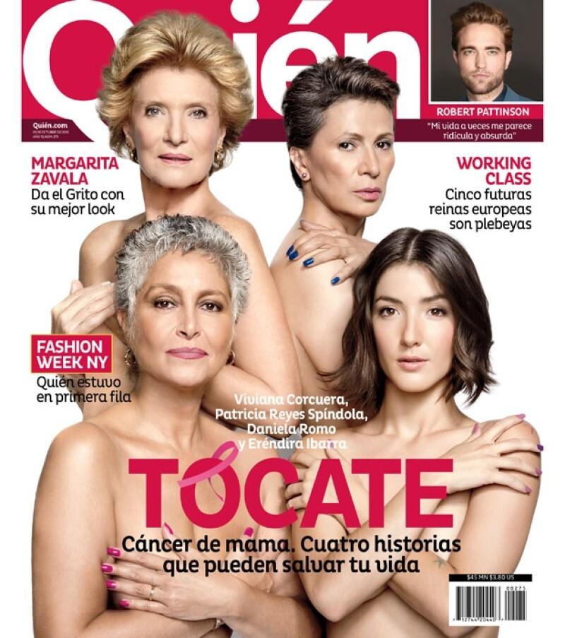 La lente de Pedro Torres fue testigo de esta portada en la que Viviana Corcuera, Patricia Reyes Spíndola, Daniela Romo y Eréndira Ibarra se convierten en voceras de la campaña Octubre Rosa.