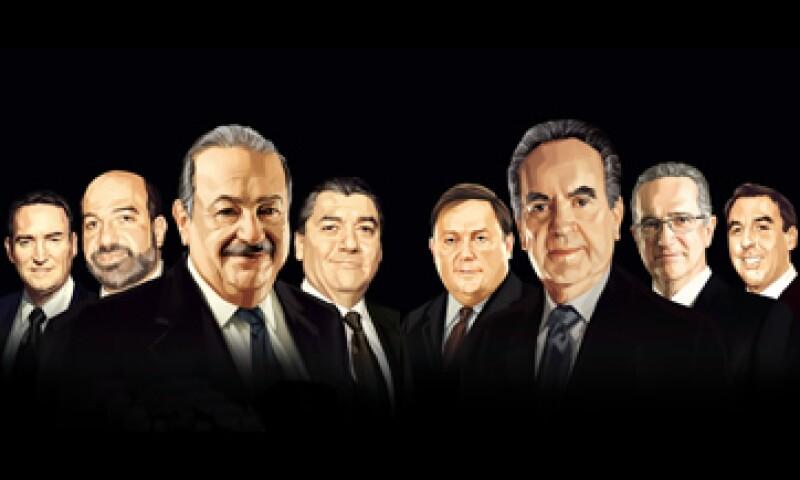 De izquierda a derecha: Ricardo Martín Bringas, Patrick Slim Domit; Carlos Slim Helú, José Antonio Fernández, Armando Garza Sada, Alberto Baillères González, Ricardo Salinas Pliego, Emilio Azcárraga Jean (Foto: José Quintero)