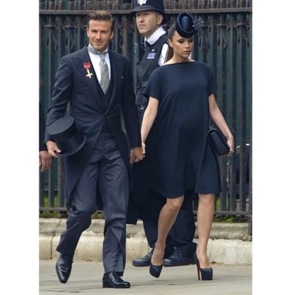 Cuando David y Victoria fueron invitados especiales a la boda de los Duques de Cambridge. Ella estaba embarazada de Harper.