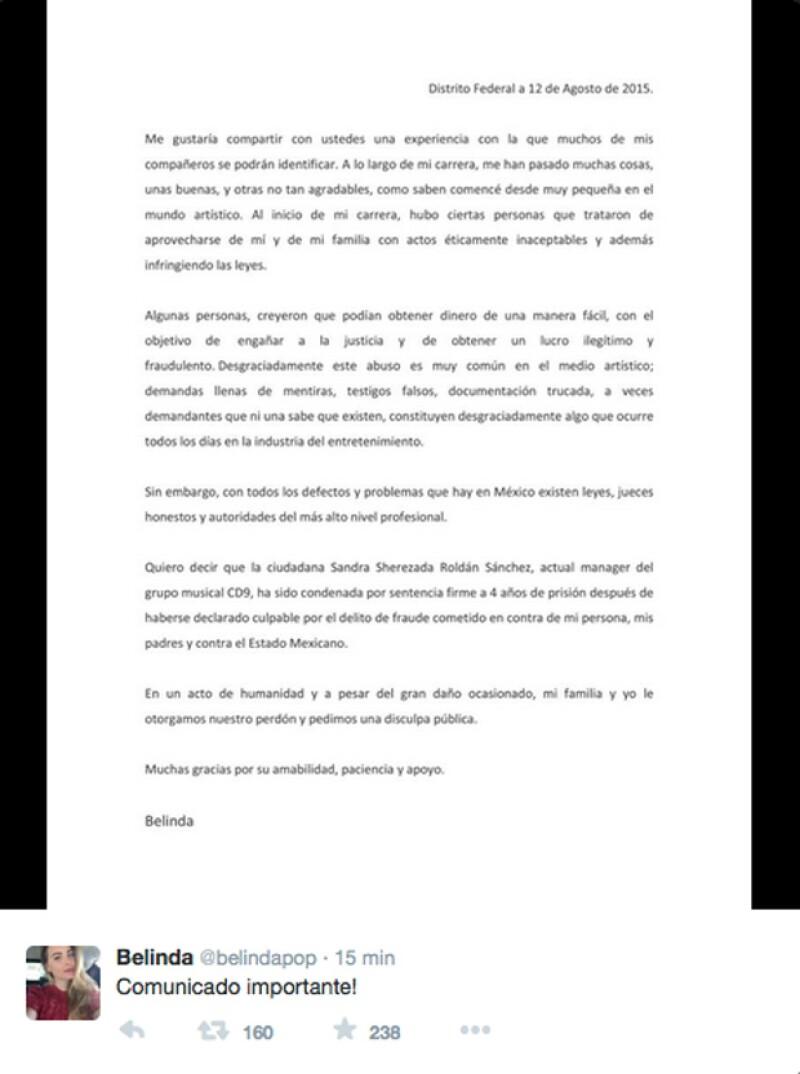 La cantante compartió este comunicado sobre la demandas en su cuenta de Twitter.