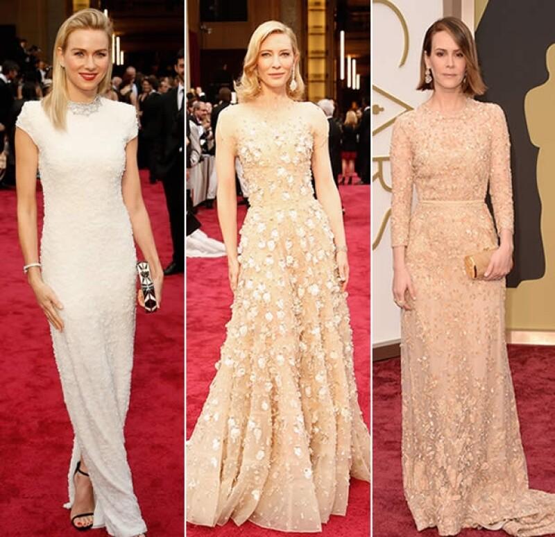 En la alfombra roja de los Premios de la Academia, el glamour fue una constante, al igual que las tonalidades pálidas y translúcidas.