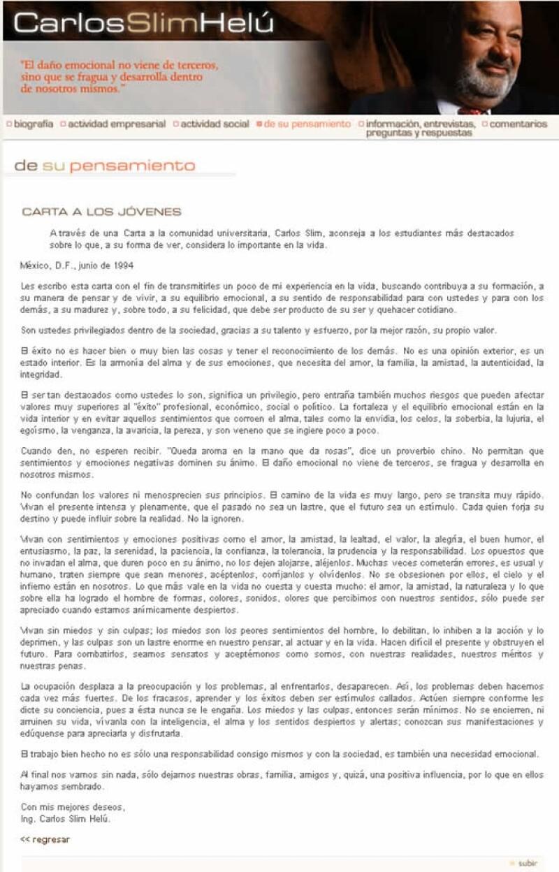 Carta de Carlos Slim