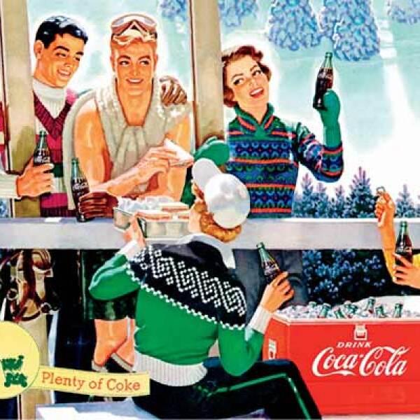 Una pintura panorámica de jóvenes parejas disfrutando de la montaña, utilizado  en el anuncio de la campaña 'Bien refrescado' de 1949.