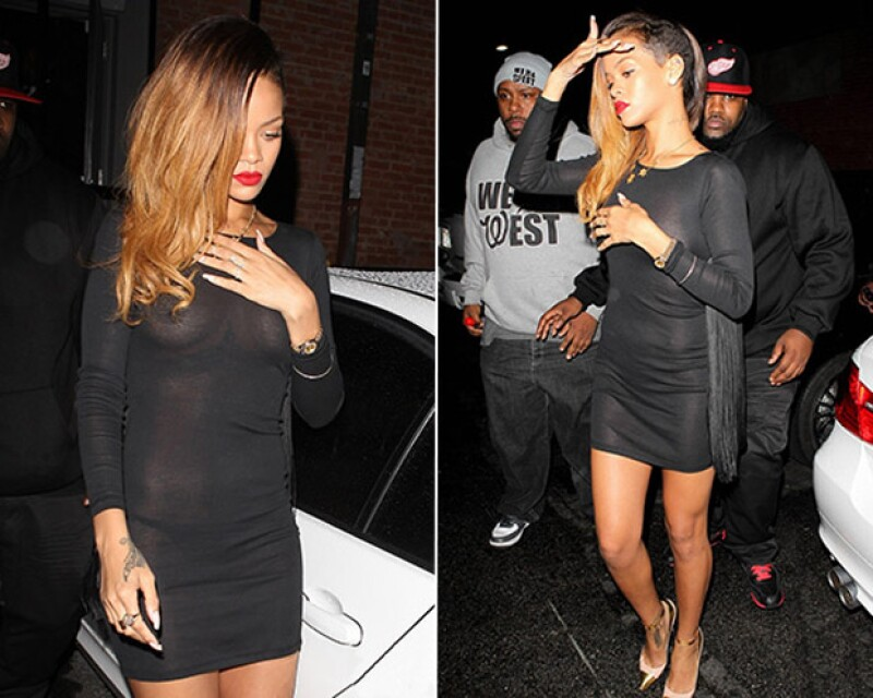 Una noche de antro en Hollywood y puedes ver a Rihanna en un vestido con transparencias.