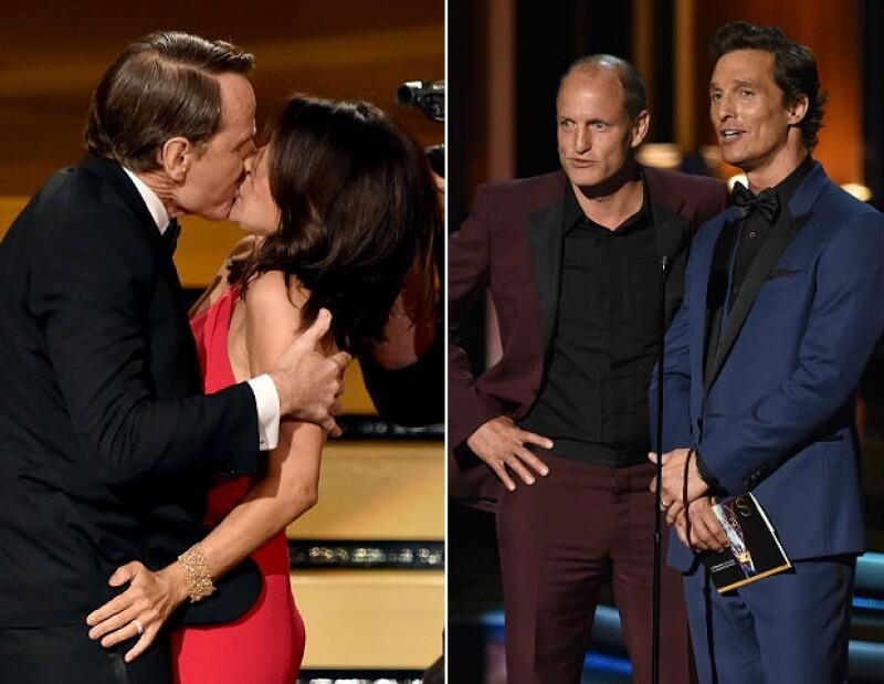 Izquierda: El beso de Julia y Bryan. Derecha: Woody Harrelson y Matthew McConaughey.