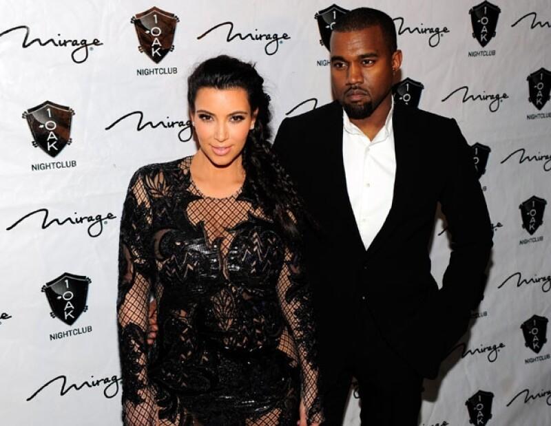 Kim y Kanye en la fiesta de Año Nuevo en Las Vegas.