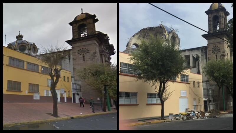 Así lucía la cúpula de la iglesia antes del 19S.