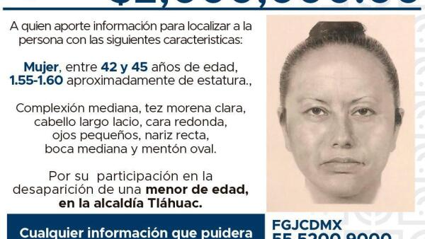 Mujer sospechosa en el caso Fátima