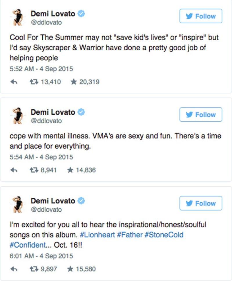 De esta manera, Demi respondió ante los comentarios de Pink en Twitter, además de anunciar su próximo álbum