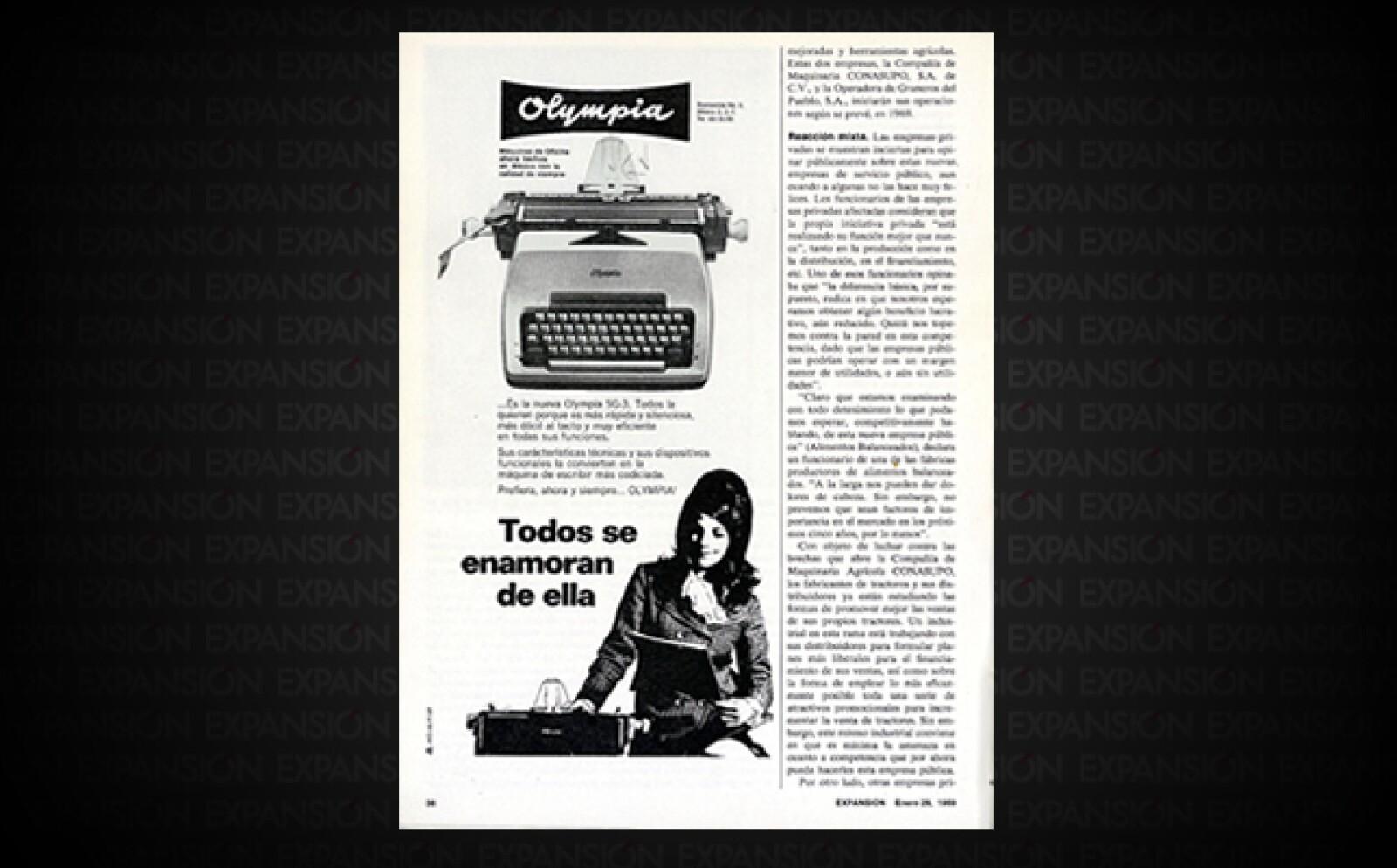 Olympia era una de las marcas líderes en máquinas de escribir en aquellos años.