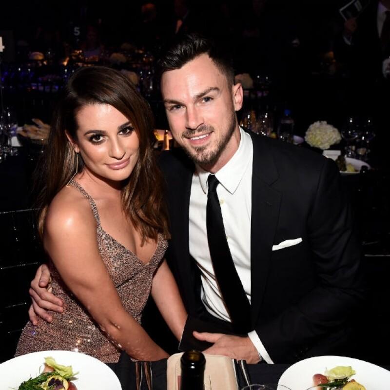 Lea Michele y su novio Matthew Paetz durante la gala de este miércoles en Hollywood, California.