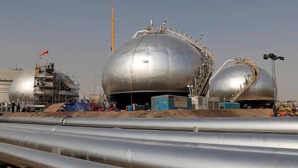 FILE PHOTO: Spheroids under reconstruction are pictured at Saudi Aramco oil facility in Abqaiq