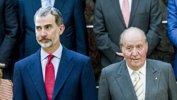 King Juan Carlos And King Felipe of Spain Meets COTEC Foundation Members