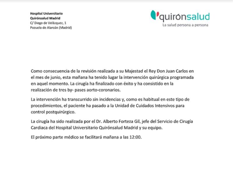 Parte médico Juan Carlos I