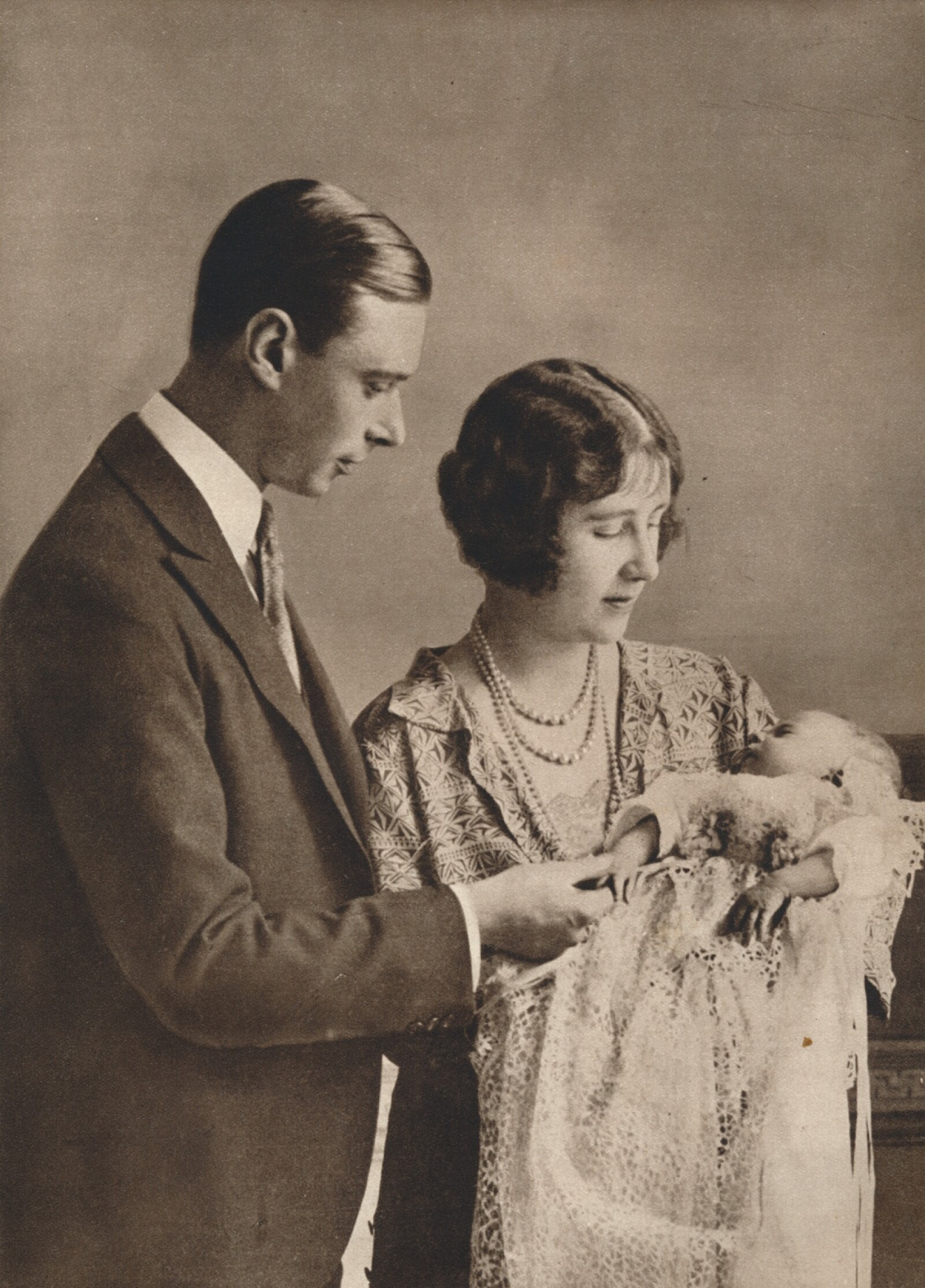The Duke and Duchess of York at the christening of Princess Elizabeth', 1926