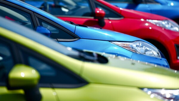 Selective focus of cars at European dealership