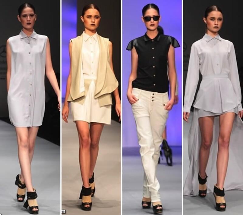 Los diseños de Lorena Saravia destacaron por ser looks serios pero vanguardistas.