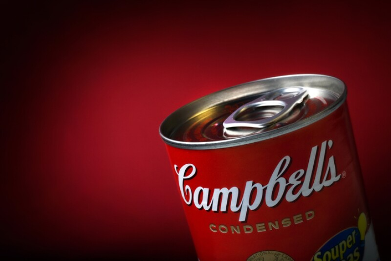 Close-Up of a Sealed Campbell's Soup Can on Red Background