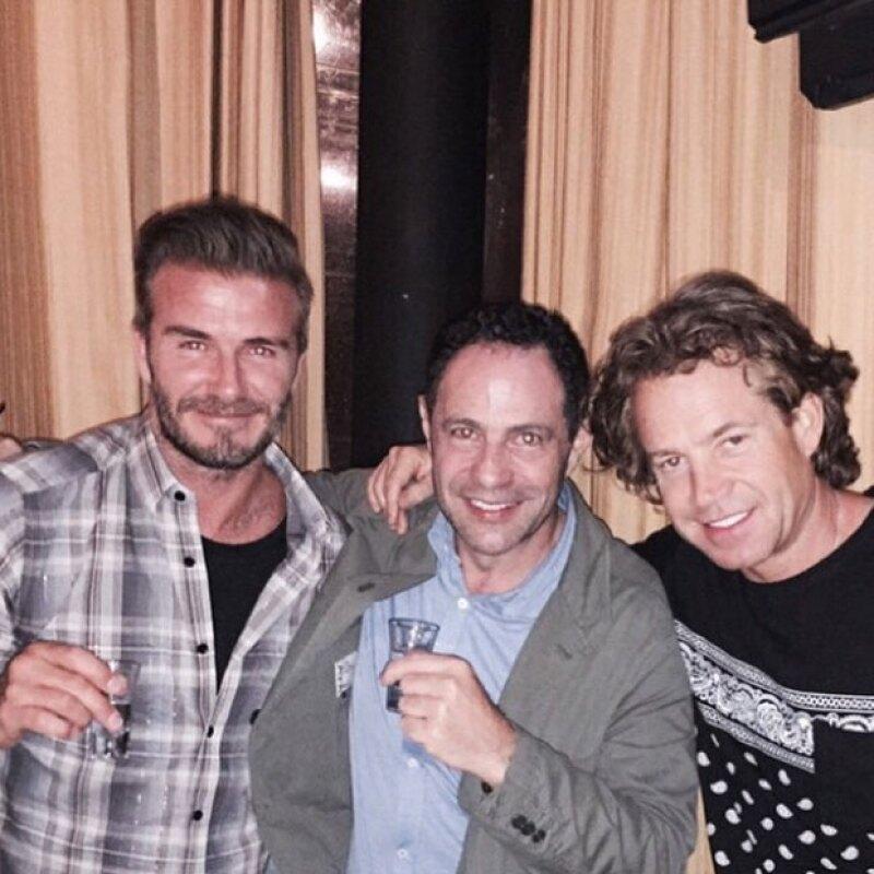 David Beckham y Sergio Berger brindaron al puro estilo del shot.