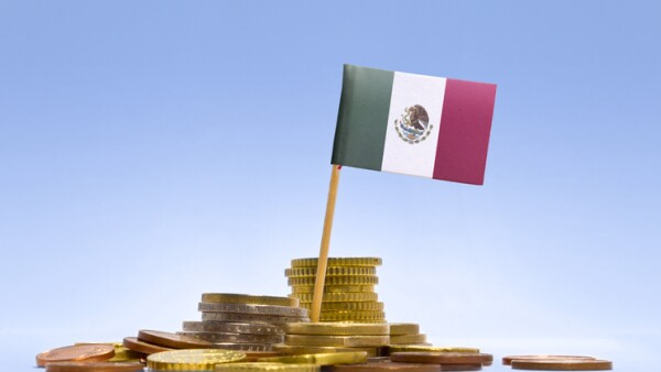 Flag of Mexico in a stack of coins.(series)