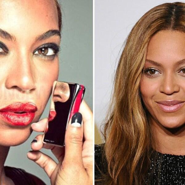 Hace unas horas fueron filtradas las fotos de Beyoncé sin retocar, y aunque el cambio es evidente, el maquillaje la hizo lucir completamente distinta.