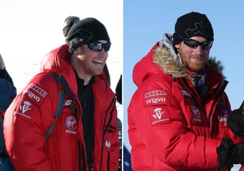 La barba del Príncipe creció de manera considerable durante su expedición al Polo Sur que duró cinco semanas.