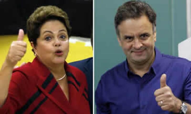 La segunda vuelta entre Rousseff (i) y Neves (d) se realizará el 26 de octubre. (Foto: Reuters)