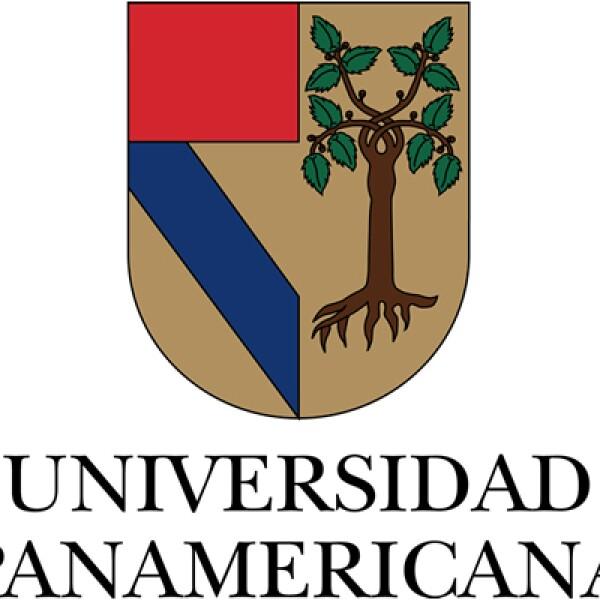 La Universidad Panamericana tiene un escudo conformado por dos elementos fundamentales, el recuadro rojo y la banda azul que representan el escudo de armas que usó Cristóbal Colón al descubrir América, y que simbolizan el panamericanismo.