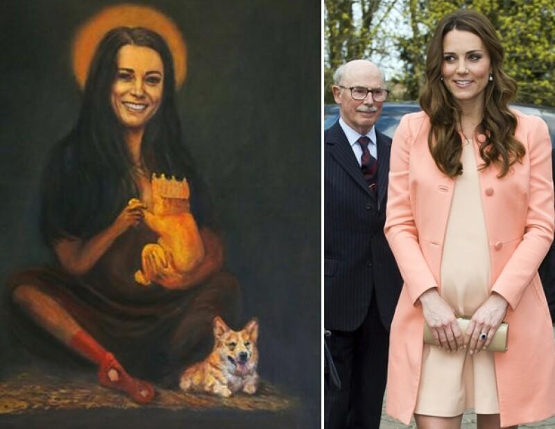 El artista Kaya Mar hizo un retrato donde proyecta a la Duquesa desde una perspectiva no muy favorecedora mientras alimenta a su futuro hijo.