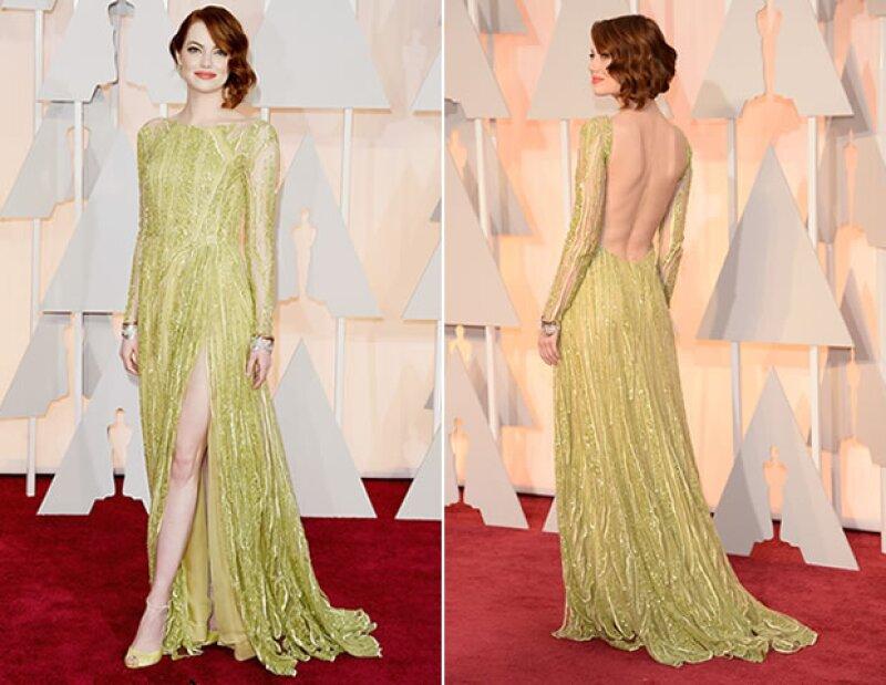 Emma Stone brilló con un vestido de Elie Saab.