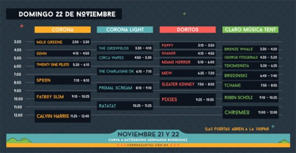Horarios, domingo 22 de noviembre