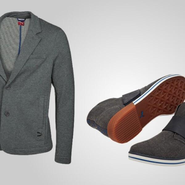 La fidelidad por una marca puede llevarse hasta en las ocasiones más formales: para muestra este saco  con dos botones y zapatos de gamuza.