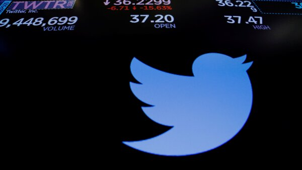 Twitter stock prices are displayed on a screen above the floor of the New York Stock Exchange shortly after the opening bell in New York