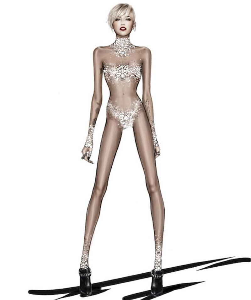 La firma dio a conocer seis bocetos del vestuario que portará la cantante durante su gira Bangerz que comienza en este 2014 donde las transparencias y hot pants estarán presentes.