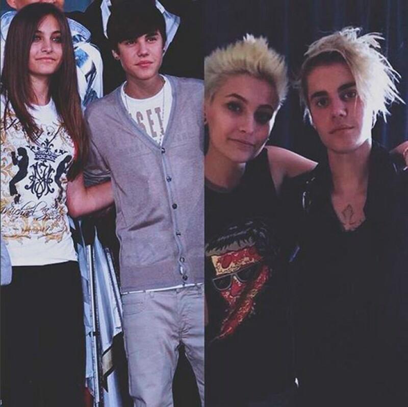 Paris Jackson presumió esta foto de los cambios de imagen similares que ella y Justin han tenido.