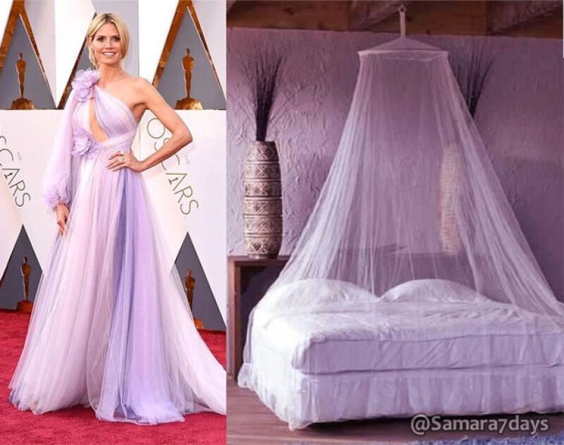 Otro de los vestidos que más burlas se llevaron fue el de Heidi Klum.