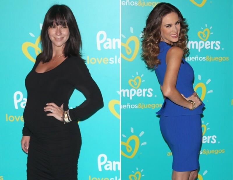 """La mexicana y la actriz estadounidense convivieron anoche en un evento organizado por la marca de pañales infantiles """"Pampers""""."""