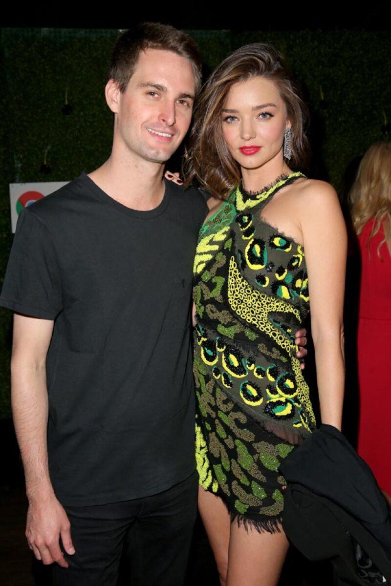 Miranda Kerr y Evan Spiegel llevan aproximadamente un año de relación.