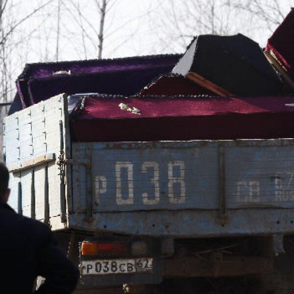 Cajas donde transportan los cuerpos de los muertos en Polonia