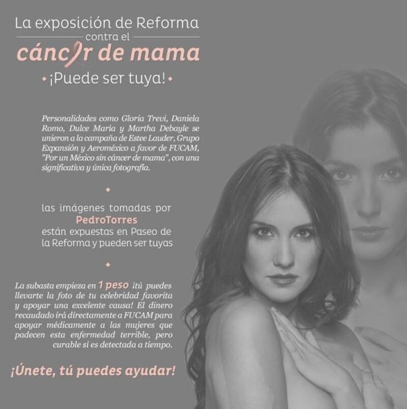 En el marco de Octubre Rosa se realiza la subasta de la exposición que se encuentra en avenida Reforma de las imágenes de Dulce María, Gloria Trevi, entre otras.