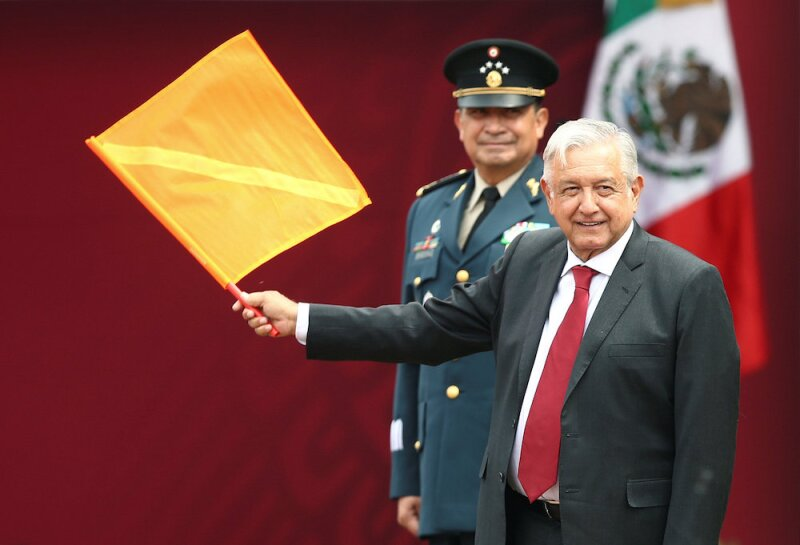 Mexico's President Andres Manuel Lopez Obrador attends an event to mark the beginning of the construction of a new international airport, at the Santa Lucia military airbase in Tecamac