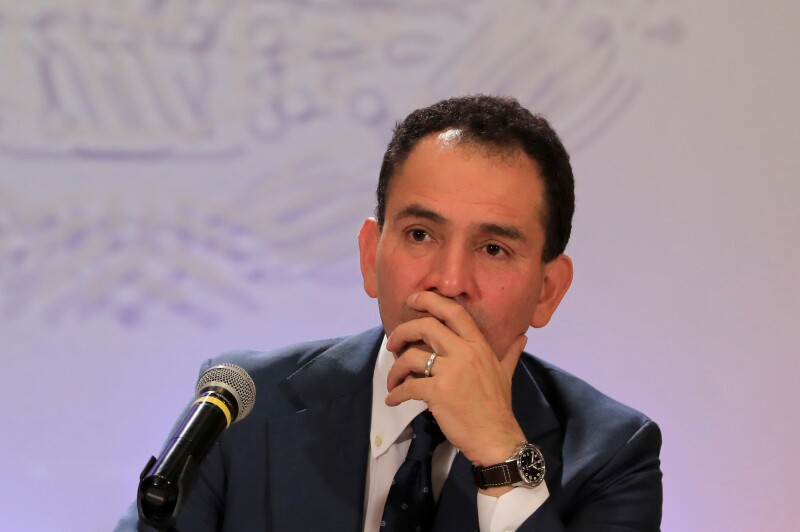 Arturo Herrera, new Mexico's Finance Minister, attends a news conference in Mexico City