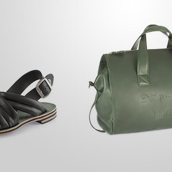 Bolsa con estructura definida en cuero de color olivo, para un estilo más relajado. Complemento perfecto con unas sandalias del mismo material.