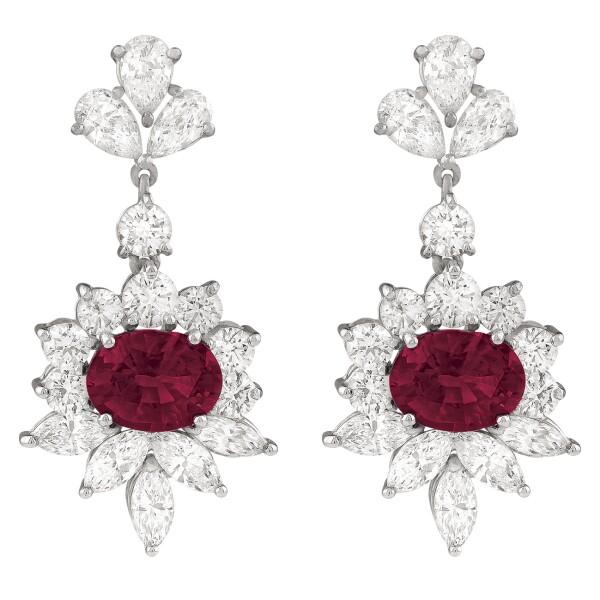 Aretes con rubíes oval y diamantes BERGER, Masaryk, 438
